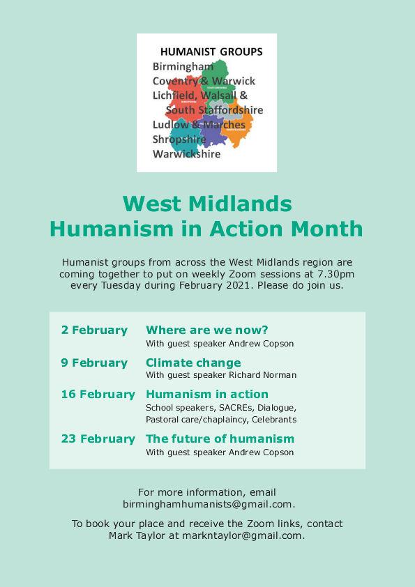 W Midlands Humanism in Action flyer